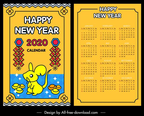 2020 calendar template colorful oriental decor rat icon