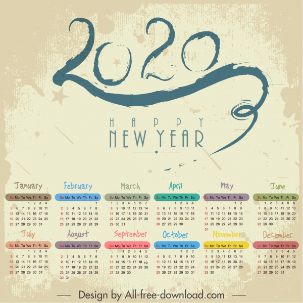 Heart And Stroke Calendar 2020 2020 calendar template colorful retro number stroke decor Free