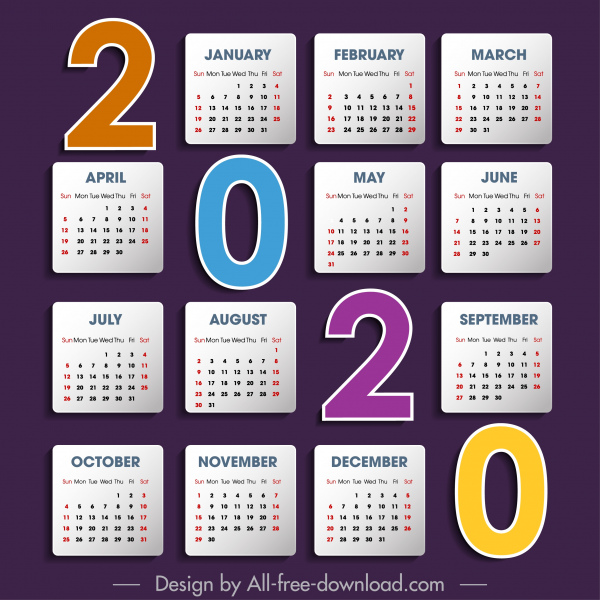 2020 calendar template colorful simple flat numbers layout