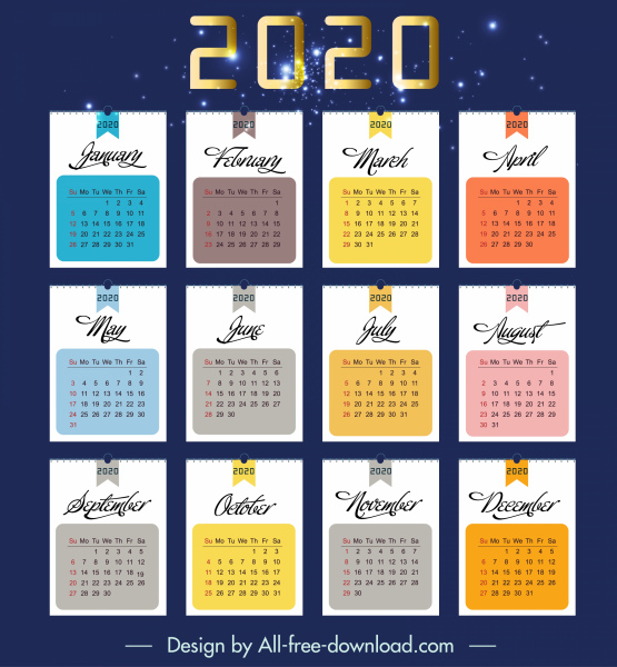 2020 calendar template colorful sparkling flat decor