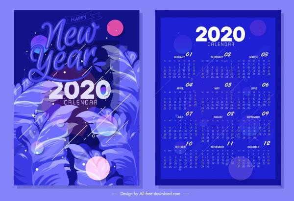 2020 calendar template dark blue design leaves ornament