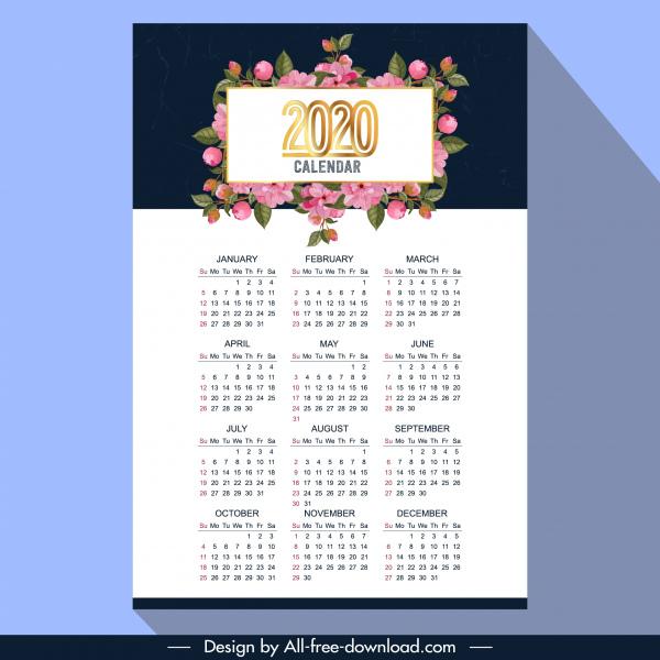 2020 calendar template elegant flora decor