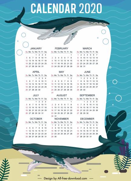 2020 calendar template marine whales decor
