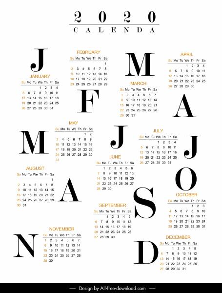 2020 calendar template modern bright black white decor
