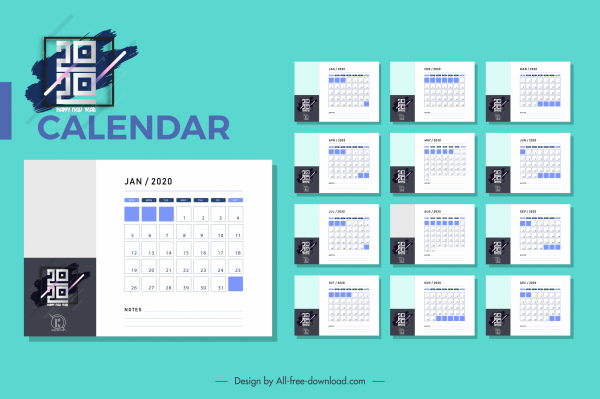 2020 Calendar Template Modern Simple Plain Design Free Vector In Adobe Illustrator Ai Ai Format Encapsulated Postscript Eps Eps Format Format For Free Download 7 35mb