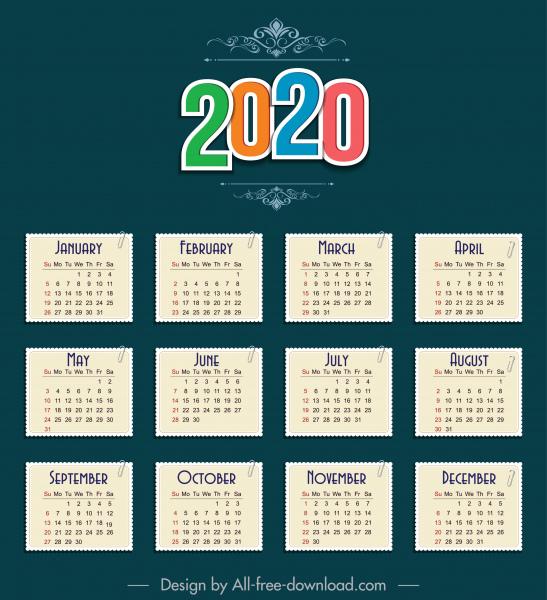 2020 calendar template paper sticker notes sketch
