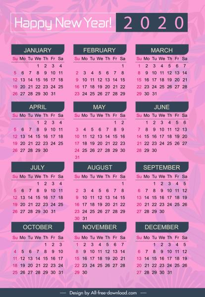 2020 calendar template simple violet plain blurred leaves