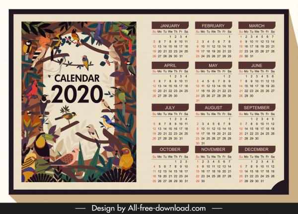 2020 calendar template wild birds theme colorful classic