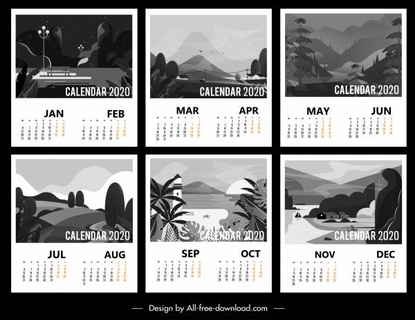 2020 calendar templates black white classic scenery decor