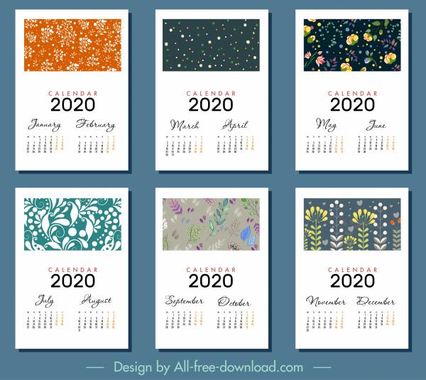 2020 Calendar Templates Classical Floral Decor Free Vector