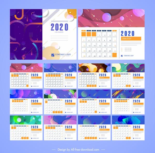 2020 calendar templates colorful abstract modern decor