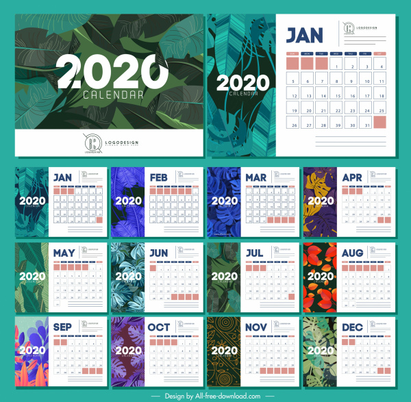 2020 calendar templates nature themes colorful leaves decor