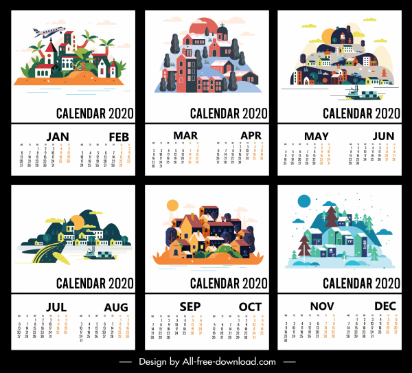 2020 calendar templates scenery decor colorful classic