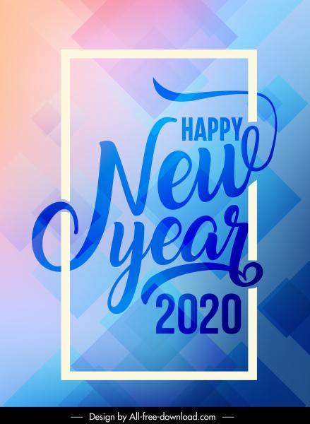 2020 new year banner bright modern calligraphic geometric