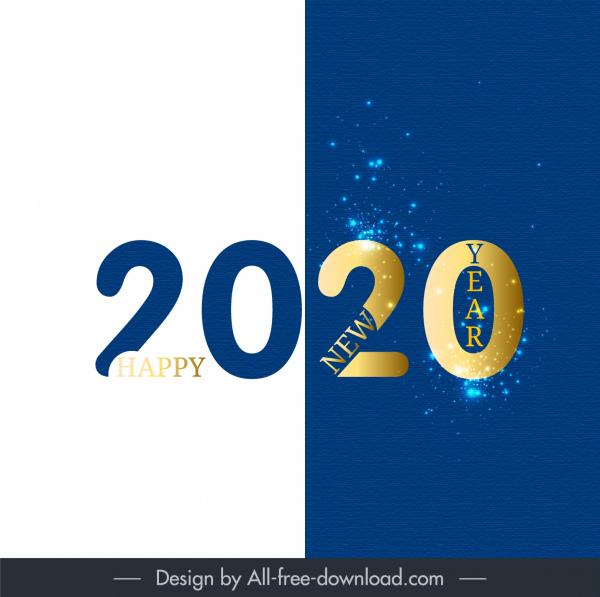 2020 new year banner bright modern sparkling decor