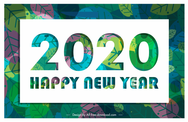 2020 new year banner classical colorful leaves decor