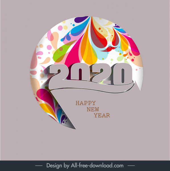 2020 new year banner colorful decor number layout