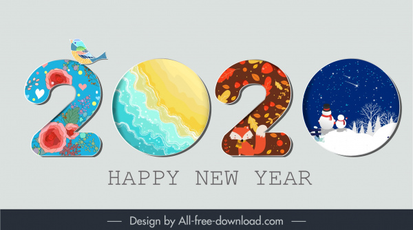 2020 new year banner colorful number seasonal elements