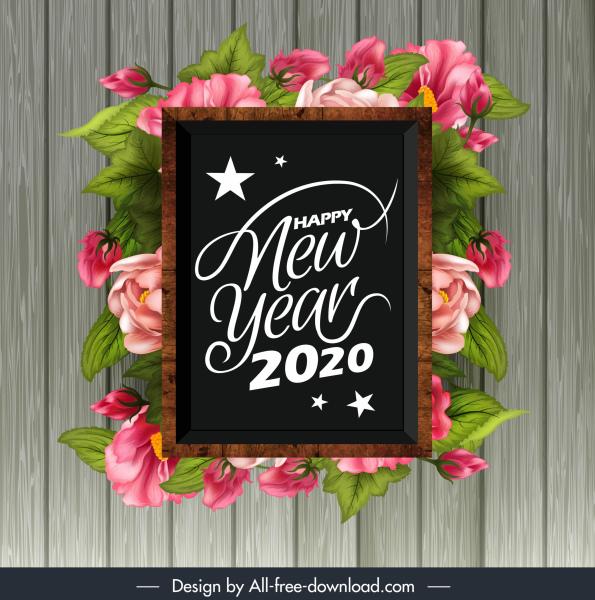 2020 new year banner elegant floras blackboard decor