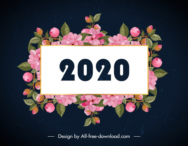 2020 new year banner elegant natural botanical decor