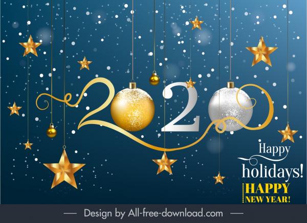 2020 new year banner elegant sparkling baubles decor