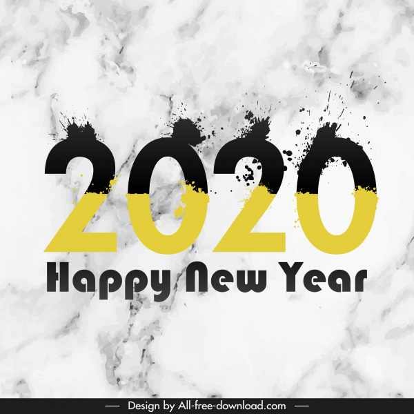 2020 new year template modern grunge inky numbers