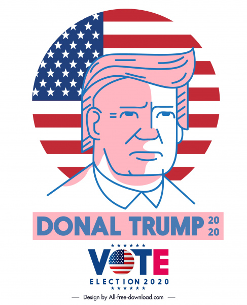 2020 usa election poster president portrait flag sketch