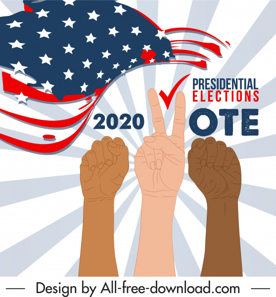 2020 usa voting poster dynamic arm signs flag