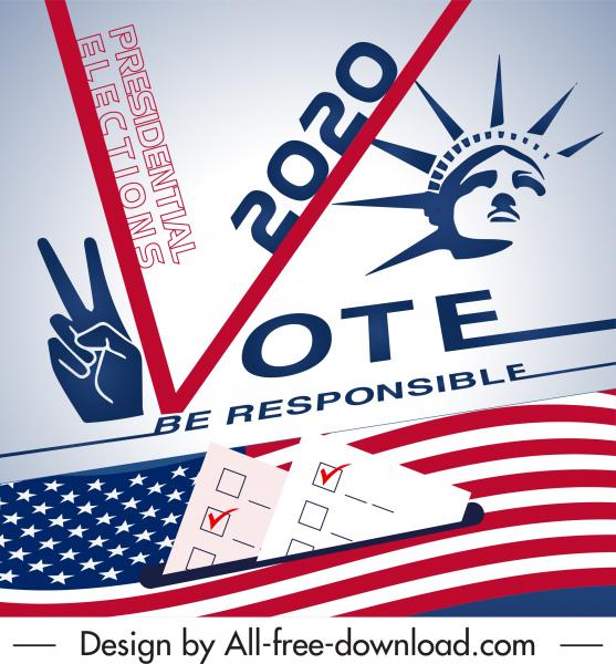 2020 usa voting poster modern national emblem sketch