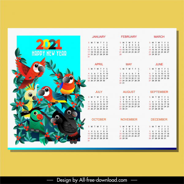 2021 calendar template bright colorful natural parrots theme