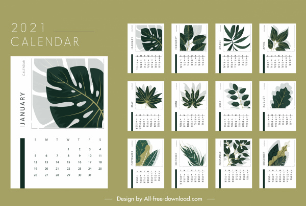 2021 calendar template classical leaves shapes decor