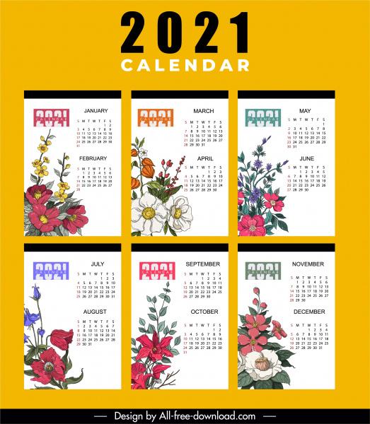 2021 calendar template colorful classic botany decor
