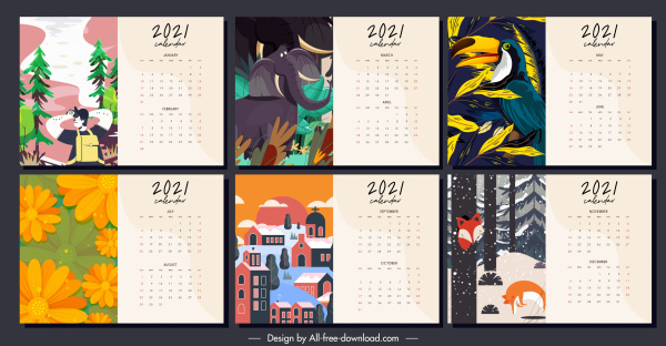 2021 calendar template colorful classic decor life themes