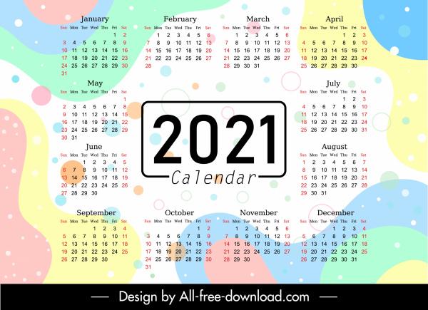 2021 calendar template colorful flat abstract decor