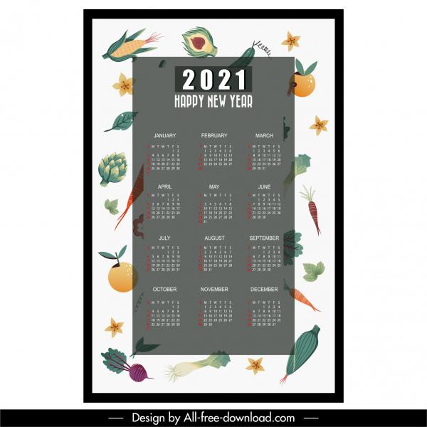 2021 calendar template colorful flat fruit vegetables decor