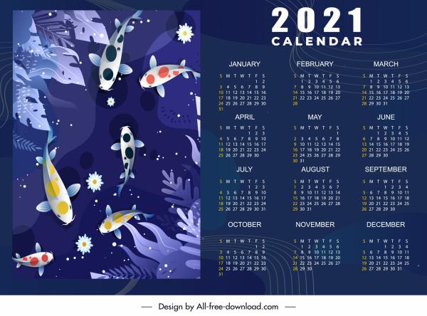 2021 calendar template colorful koi fish dark decor