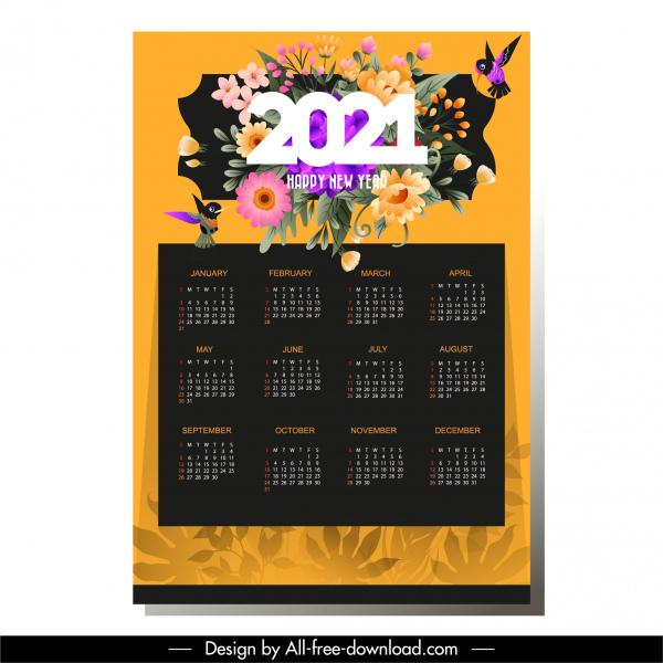 2021 calendar template elegant colorful flowers birds decor
