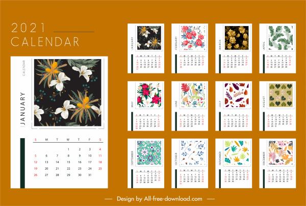 2021 calendar template elegant seasonal plants decor