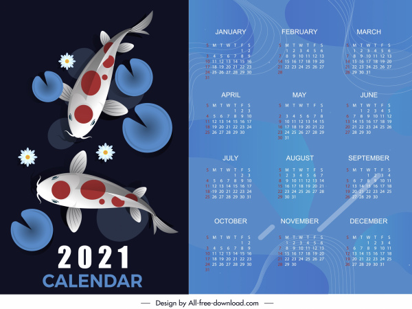 2021 calendar template koi fish decor