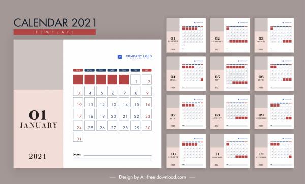 2021 calendar template moder bright simple flat decor