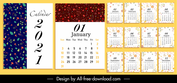 2021 calendar template nature elements decor Free vector in Adobe