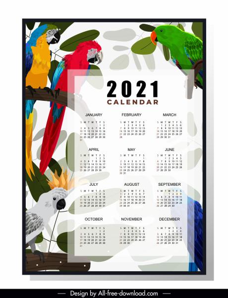 2021 calendar template tropical parrots decor colorful bright