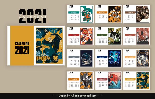 2021 calendar template wild nature theme