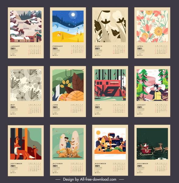 2021 calendar templates classical nature seasons sketch