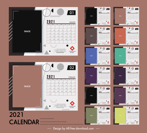 2021 calendar templates modern flat plain geometric decor