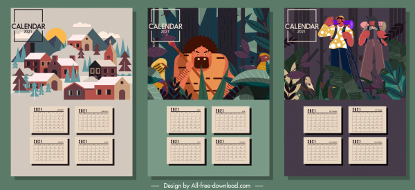 2021 calendar templates village jungle elements decor
