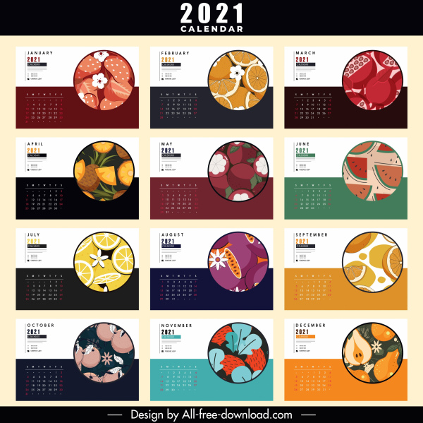 2021 calender template colorful flat fruits decor