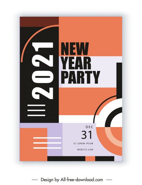 2021 new year party banner elegant abstract flat