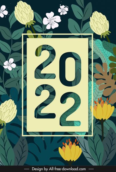 2022 calendar cover template elegant plants elements decor