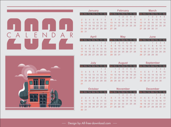 2022 calendar template bright classic house sketch